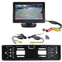 "Discount rear view camera monitor kit - Wireless Car Rear View Kit 4.3"" TFT LCD Monitor + Rear View Camera Universal EU European License Plate Frame Wireless Car Rear View"