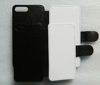 Wholesale Blank Fabrics - For iphone 7   7 plus DIY Flip PU Leather sublimation case + Blank printable polyester fabrics free shipping 100pcs lot