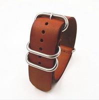 Wholesale Nato Zulu Strap - Wholesale-zulu straps-1PCS High quality 20MM Nato strap genuine leather Watch band NATO straps watch strap-3243