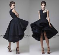küçük siyah elbiseli ünlüler toptan satış-Krikor Jabotian 2019 Küçük Siyah Elbise Yüksek Düşük Katmanlı Etek Kırmızı Halı Ünlü Elbiseleri El Yapımı Çiçek Kısa Balo Parti mezuniyet Elbisesi
