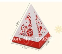 Wholesale Apparel Boxes Red - free shipping 50pcs lot Popular Wedding Gift Box Creative Triangle Candy Box Event & Party Must-have Warm Red Color NO.4