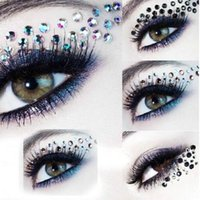 Wholesale Sticker Makeup Eyeshadow - Eye Rock DIY EYE MAKEUP Eyeshadow decoration party makeup queen eye shadow stickers crystal rhinestone 3D EYE TATTOOS