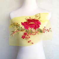 Wholesale Chinese Daily Wear - 25*30cm large red peony flower embroidery patch applique on yellow mesh cloth with no adhesive for performance or daily wear diy