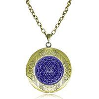 medallones indios al por mayor-Collar de medallón de Sri Yantra Colgante de geometría sagrada Joya de chakra Collar de reiki budista Meditación Gargantilla Regalo de yoga Joyería de cúpula india