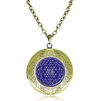 Wholesale Yoga Meditation Pendant - Sri Yantra Locket Necklace Sacred Geometry Pendant Chakra Jewelry Buddhist Reiki Necklace Meditation Choker Yoga Gift Indian Dome Jewellery