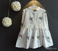 Wholesale Girls Fashion Clothes Wholesale Korea - New arrival 2016 girls dresses 100% cotton Sweet Korea fashion cat dress for girl long sleeve Children clothing Autumn wholesale