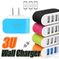 Wholesale Mobile Phone Charger Adapter Solar - US EU Plug 3 USB LED Wall Chargers 5V 3.1A Adapter Travel Convenient Power Adaptor with triple USB Ports For Mobile Phone