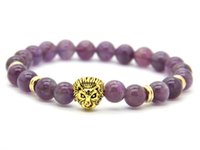 Wholesale African Amethyst Beads - 2016 Wholesale 8mm Top Quality Natural Amethyst Stone Beads Real-Gold Plated Lion Head Energy Bracelets Mens Jewelry Mens Gift