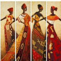 Wholesale High Grade Oil Paints - High grade art handpainted abstract portrait dancing African Women figure oil painting canvas