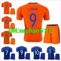 Wholesale Netherlands Away - 2016 Netherlands soccer jersey kits ROBBEN Home Orange Away blue KLAASSEN SNEIJDER V.PERSIE best quality Netherlands Football shirt
