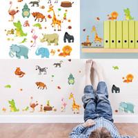 graphic animal classic Australia - Mayitr Jungle Animals Decal Lovely Cartoon DIY Kids Wall Stickers Zoo Mural Children Nursery Baby Room Decor Wallpaper Gift
