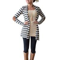 patchs de dame achat en gros de-2016 mode nouvelle arrivée femmes 's vêtements lady rayé cardigan coude en cuir PU à manches longues cardigans Casual Turndown Neck Jacket