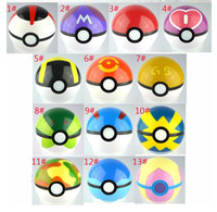 Wholesale Popping Videos - 300Pcs Poke Ball Anime Toys Cartoon Pocket Monsters ABS Action Figures pikachu Ball Cosplay Pop-up 13 colors Fast Shipping