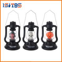 Wholesale Lantern Moon - LED Colorful Hallowmas Lantern Lamp Portable Hanging Night Light Pumpkin Witch Ghost Skull Light Halloween Gift