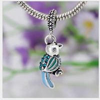 Wholesale parrot chain - Fits Pandora Bracelets 10pcs Parrot Silver Charm Beads Dangle Enamel Charms Pendant For Wholesale Diy European Necklace Snake Chain Bracelet