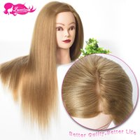Wholesale Doll Blond - Wholesale-New Arrival 22'' Yaki Straight Blond Hair Mannequin Head Women With Make Up Hairdressing Dolls Hairdressing Training Head