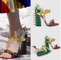 Wholesale Chunky Heel Shoe Boots - New 2017 Fashion Design Spiked Thick High Heeled Peep Toe Women Sandals Boots Rivets Women Sandals Summer Shoes Woman High Quality