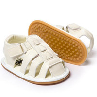 kız bej ayakkabıları toptan satış-Yenidoğan Bebek Sandal Ayakkabı Hakiki Deri Moccasins Yumuşak Kauçuk Taban Bebek İlk Walkers Toddlers Yaz Bebek Erkek Kız Ayakkabı Bej Gri