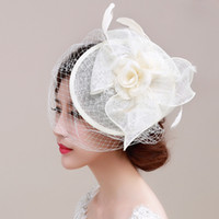 Wholesale Hair Piece Hats - Fashion Flower Hat Bridal Tiaras Head Pieces Cotton Bridal Headbands Jannie Baltzer & birdcage veils Wedding Hair Accessories