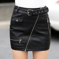 Wholesale Womens Black Leather Clothes - 2017 Hot Sale Black Skirts Womens New Fashion High Quality Skirts Female Mini Leather Skirt S-3XL Work To Wear Clothes