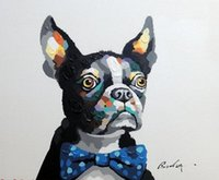 Wholesale Dog Frames - Boston Terrier Portrait Bow Tie Dog, Pure Hand Painted Animal Art Oil Painting Canvas.any customized size accepted John