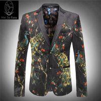 Wholesale Famous Textiles - Wholesale- new product Factory direct sales price luxur velveteen printing textile phoenix famous blazer slim suit winter jacket size M-3XL