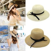 Chapeaux À Bas Prix Pas Cher-Vente en gros - Livraison gratuite New Fashion Summer Casual Femmes Femmes Wide Brim Beach Sun Hat élégant Straw Floppy Bohemia Cap For Women Dating Cheap