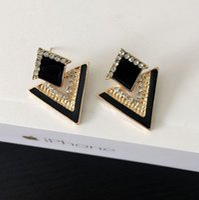 Wholesale studs for sale resale online - Diamond Earrings Triangle Stud Earrings for Women Punk Style Diamond Stud Earrings Four Color On Sale Christmas Gift