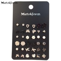 MarteJoven 18 Pairs / Lot Ear Studs Mixed Bird Cross Flower Love Heart Stars Silver Color Earrings Sets Stud For Women Wholesale