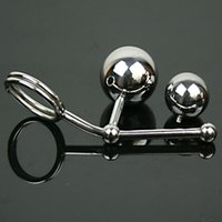 Wholesale stainless steel chastity double ball - Stainless Steel Hollow Hook Anal Ball with Cock Ring Men Anal Bondage Plug Chastity Device Double Balls Sex Toys