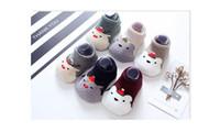 Wholesale Cartoon Baby Floor Socks - Christmas socks for children Half wool Non-slip baby Floor socks Xmas cartoon Winter warm terry socks for 1-4T
