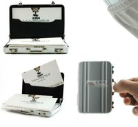 Wholesale Plastic Business Cards Box - Silver Aluminum Business Card Holder Credit Coin Case Mini Suitcase passqord design box stash also offer bracelet stash plastic case fashion