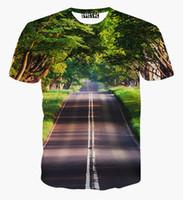 ingrosso bel t-shirt uomo-tshirt Nice Scenery T-shirt per uomo / donna 3d tshirt stampa alberi verdi e pulito strada casual top tees t shirt spedizione gratuita