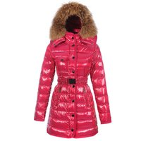 Wholesale Winter Jackets Xs For Women - High Quality 5 Colors Winter Down Coat Jacket for Women Sashes Long Raccoon Fur Slim Fashion Hooded Clothes Brand Outwear Parkas Hot Sale
