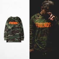 Wholesale Long Sleeve Shirt Types - 2016 autumn new large letter V behind the type of camouflage pattern unisex long-sleeved T-shirt