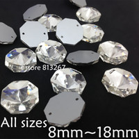 Wholesale 12mm Octagon Crystal Beads - Round Octagon Sew On Stone Crystal Clear Color Flatback 2holes 8mm,10mm,12mm,14mm,16mm,18mm Sewing Glass Crystal Beads Dress