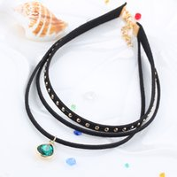Wholesale Restore Suede - Han Guoyuan lodge personality rivet iron nail multilayer suede leather neck restoring ancient ways with crystal pendant gothic short necklac