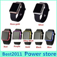 Wholesale Black Light Alloy - Hot New Square Mirror Face Silicone Band Digital Watch Red light alloy shell LED Watches Quartz Wrist Watch Sport Clock Hours