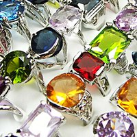 Wholesale Zircon Crystals For Sale - 10Pcs Fashion Classic Crystal Zircon Silver Plated Rings For Women Rhinestone Jewelry Whole Sale Bulk Lots Free Shipping LR034