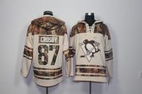 novo pinguim venda por atacado-Qualidade máxima ! 2017 Nova Pittsburgh Penguins Velho Tempo de Hóquei Jerseys 87 Sidney Crosby Camo Com Capuz Pulôveres Camisolas Casaco de Inverno Esporte