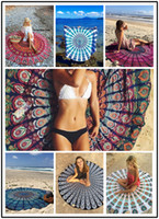 Wholesale Beach Towels Beige - 2016 Indian Mandala Round Roundie Beach Throw Tapestry Hippy Boho Gypsy Cotton Tablecloth Beach Towel Round Yoga Mat Beach pad