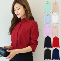 Wholesale White Silk Blouses Wholesale - Women Long Sleeve Chiffon Blouse Shirt New 2016 Autumn Woman Fashion Clothes Casual Blouses Ladies Top Blusas Camisas Femininas
