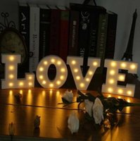 Wholesale Sign Alphabet Letters - 26 Letters White LED Night Light Marquee Sign Alphabet Lamp For Birthday Wedding Party Bedroom Wall Hanging Party Decoration CCA7411 500pcs