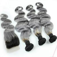 iki ton dantelli kapatma toptan satış-1B / Gri Brezilyalı Ombre İnsan Saç Paketler Ile Gümüş Gri Dantel Kapatma Iki Ton Renkli Saç Örgü Kapatma Vücut Dalgalı Ile 4 Adet / grup