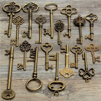 Aspect Vintage Clé Pas Cher-18Pcs Antique Vintage Old Look Skeleton Key Lot Pendentif Heart Bow Lock Steampunk