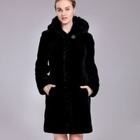 Wholesale Sheepskin Winter Coats For Women - Sheep Shearing fur coat for Woman winter natural sheepskin fur overcoat female long clothes with hooded mink fur collar