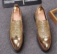Wholesale New Arrival Men S Shoes - 2017 New arrival Luxury golden Men Shoes Black Loafers Leather Men 's Casual Shoes Brand Comfortable Spring Fashion Men Dress Shoes D10