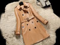 tranchée abrigos achat en gros de-Nouveau cuir de luxe pour femmes en cuir de mouton véritable à col rabattu et à manches longues, à double boutonnage et long trench-coat abrigos M-3XL