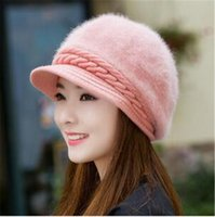 Wholesale Duck Ear Cap - 2017 winter hat female Korean edition imitation rabbit hair hat pure color duck tongue beret warm ear cap TO142