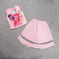 Wholesale Pony Skirt - 2016 New summer Kids fashion Cartoon pony Tee with tutu skirt 2 piece set girls clothes set 20 sets IT1014